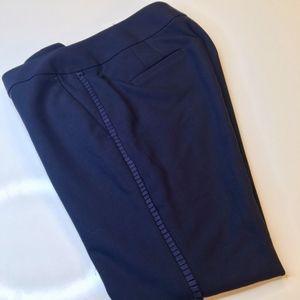 NWT LOFT Navy Tuxedo Style Slacks Size 4